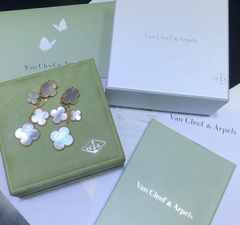 Van Cleef & Arpels Magic Alhambra 4 Motifs Mother of Pearl Earrings In Excellent Condition For Sale In MIAMI, FL