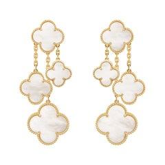 Van Cleef & Arpels Magic Alhambra 4 Motifs Mother of Pearl Earrings