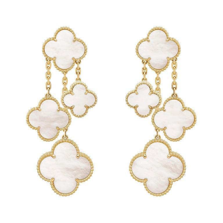 Van Cleef & Arpels Magic Alhambra 4 Motifs Mother of Pearl Earrings For Sale