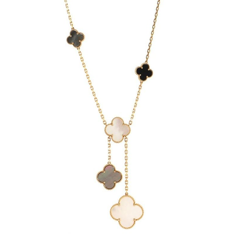 Women's or Men's Van Cleef & Arpels Magic Alhambra 6 Motif Necklace 18K Yellow Gold and Mo For Sale