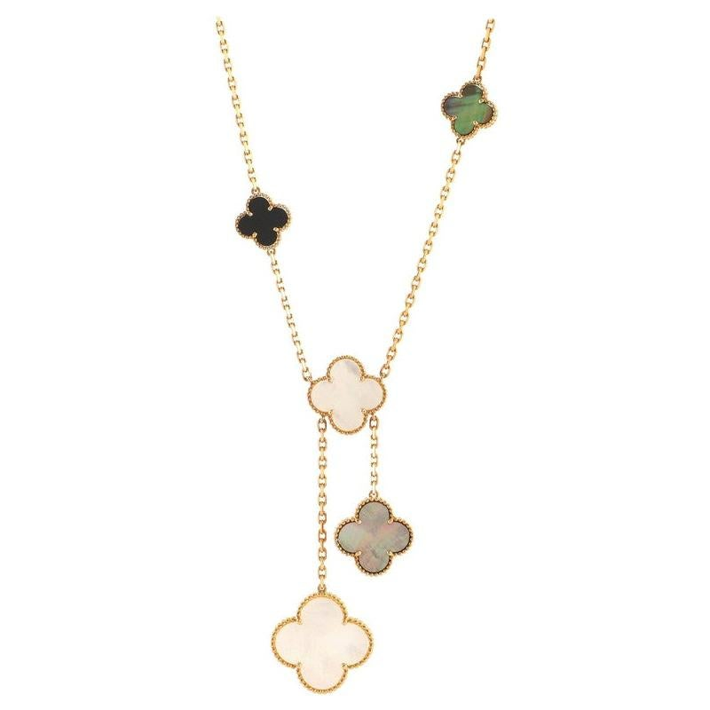 Van Cleef & Arpels Magic Alhambra 6 Motif Necklace 18K Yellow Gold and Mo