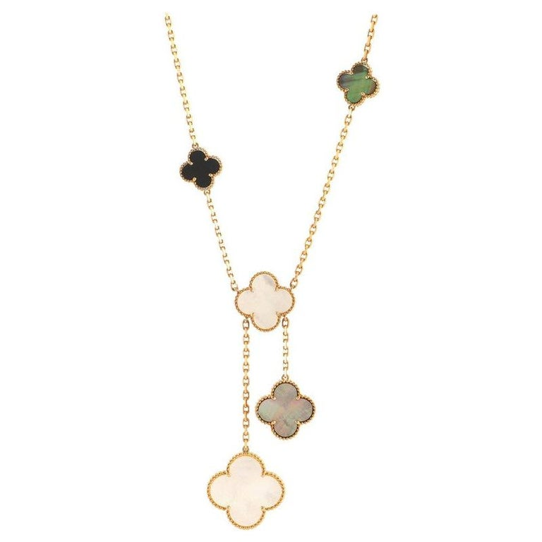 Van Cleef & Arpels Magic Alhambra 6 Motif Necklace 18K Yellow Gold and Mo For Sale