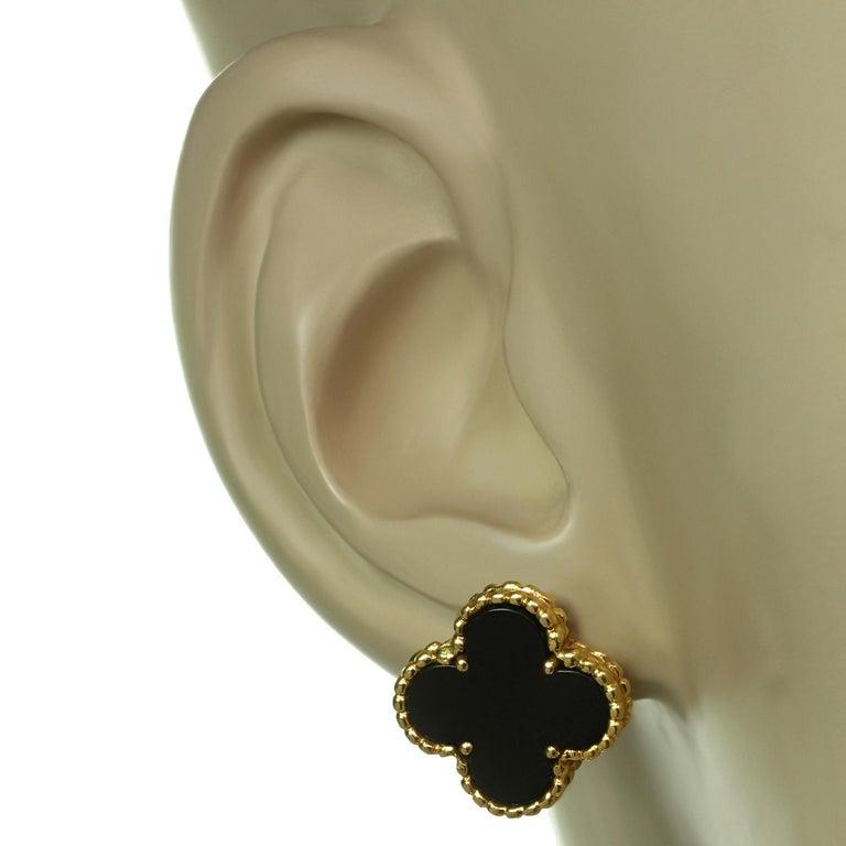 Mixed Cut Van Cleef & Arpels Vintage Alhambra Black Onyx Yellow Gold Earrings For Sale