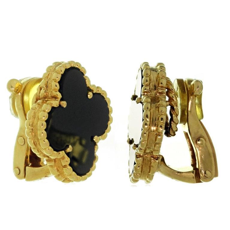 Women's Van Cleef & Arpels Vintage Alhambra Black Onyx Yellow Gold Earrings For Sale