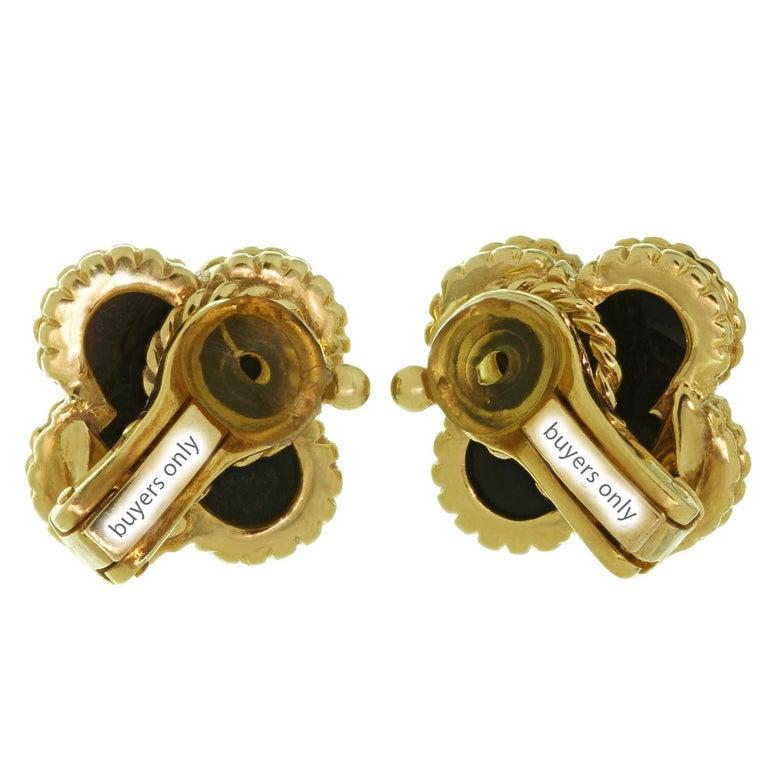 Van Cleef & Arpels Vintage Alhambra Black Onyx Yellow Gold Earrings For Sale 1