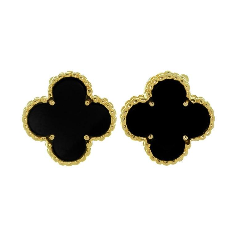 Van Cleef & Arpels Vintage Alhambra Black Onyx Yellow Gold Earrings For Sale