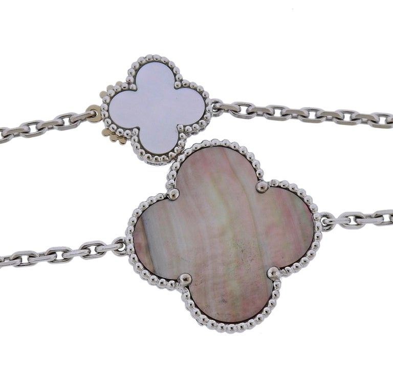 Van Cleef & Arpels Magic Alhambra Chalcedony Mother of Pearl 16 Motif Necklace In Excellent Condition For Sale In Boca Raton, FL
