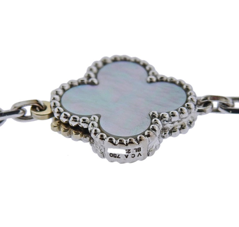 Women's Van Cleef & Arpels Magic Alhambra Chalcedony Mother of Pearl 16 Motif Necklace For Sale