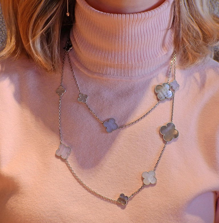 Van Cleef & Arpels Magic Alhambra Chalcedony Mother of Pearl 16 Motif Necklace For Sale 1