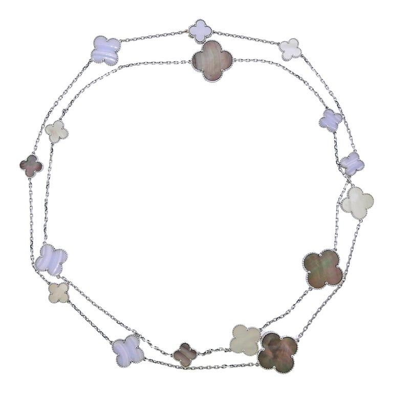 Van Cleef & Arpels Magic Alhambra Chalcedony Mother of Pearl 16 Motif Necklace For Sale