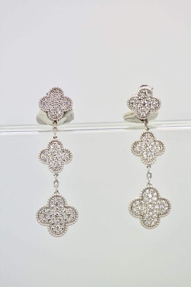 Van Cleef & Arpels Magic Alhambra Diamond 3 Clover Earrings 4