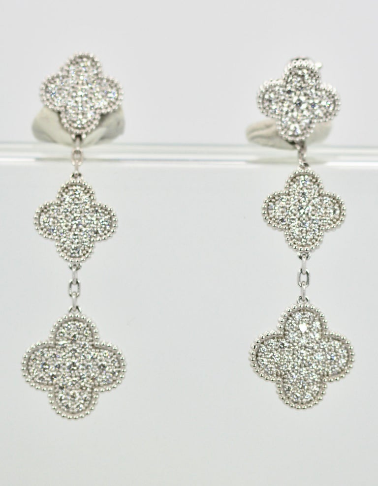 Contemporary Van Cleef & Arpels Magic Alhambra Diamond 3 Clover Earrings