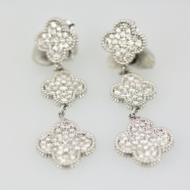 Van Cleef & Arpels Magic Alhambra Diamond 3 Clover Earrings In Excellent Condition In North Hollywood, CA