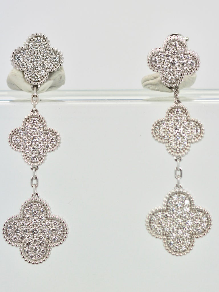 Women's or Men's Van Cleef & Arpels Magic Alhambra Diamond 3 Clover Earrings
