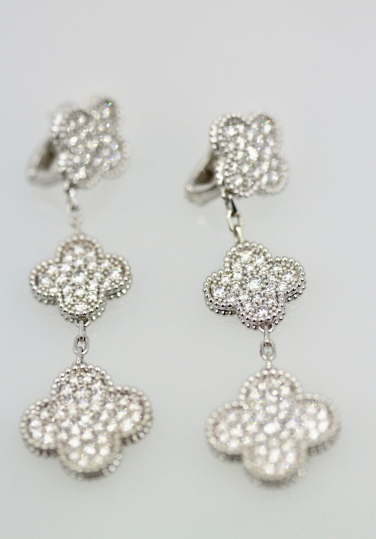 Van Cleef & Arpels Magic Alhambra Diamond 3 Clover Earrings 3