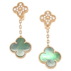 Van Cleef & Arpels Magic Alhambra Diamond and Mother of Pearl Earrings