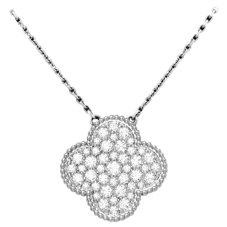 Van Cleef & Arpels Magic Alhambra Diamond Big Pendant Necklace