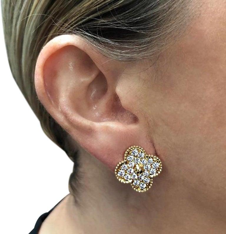 Round Cut Van Cleef & Arpels Magic Alhambra Diamond Earrings For Sale