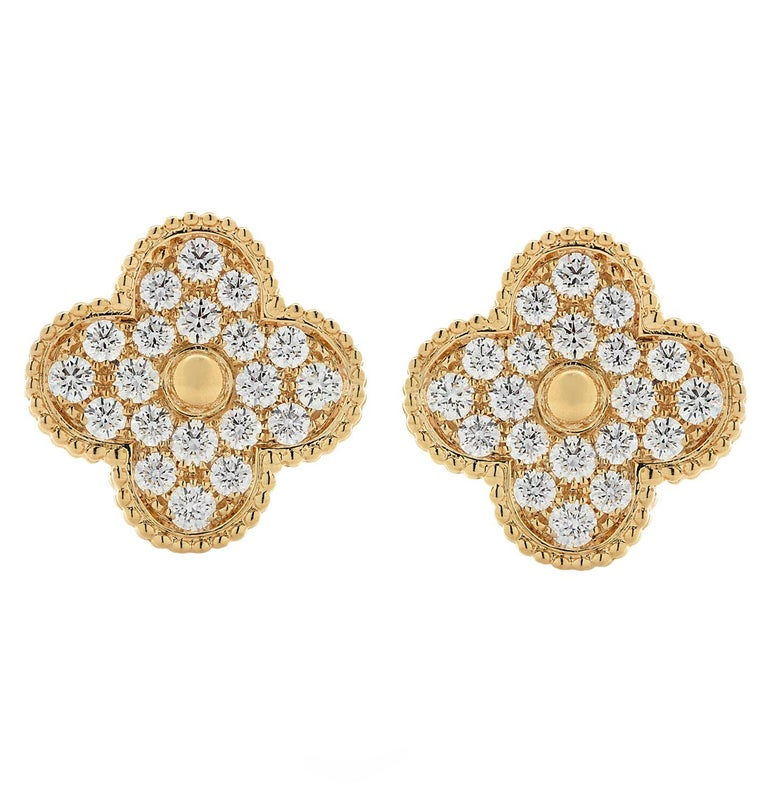 Van Cleef & Arpels Magic Alhambra Diamond Earrings In Excellent Condition For Sale In Miami, FL