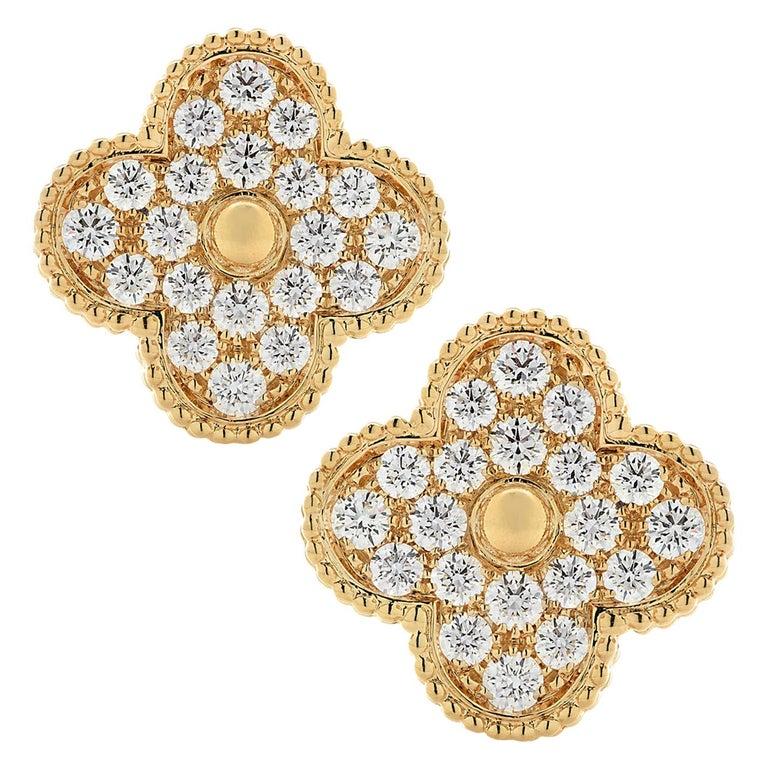 Van Cleef & Arpels Magic Alhambra Diamond Earrings For Sale
