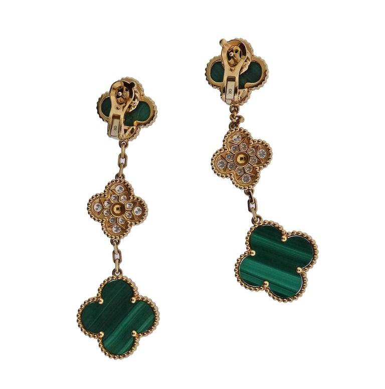 Van Cleef & Arpels Magic Alhambra Diamond Malachite Gold Earrings In Excellent Condition For Sale In Lahaska, PA