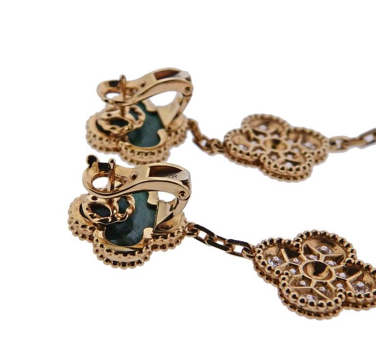 Women's or Men's Van Cleef & Arpels Magic Alhambra Diamond Malachite Gold Earrings For Sale