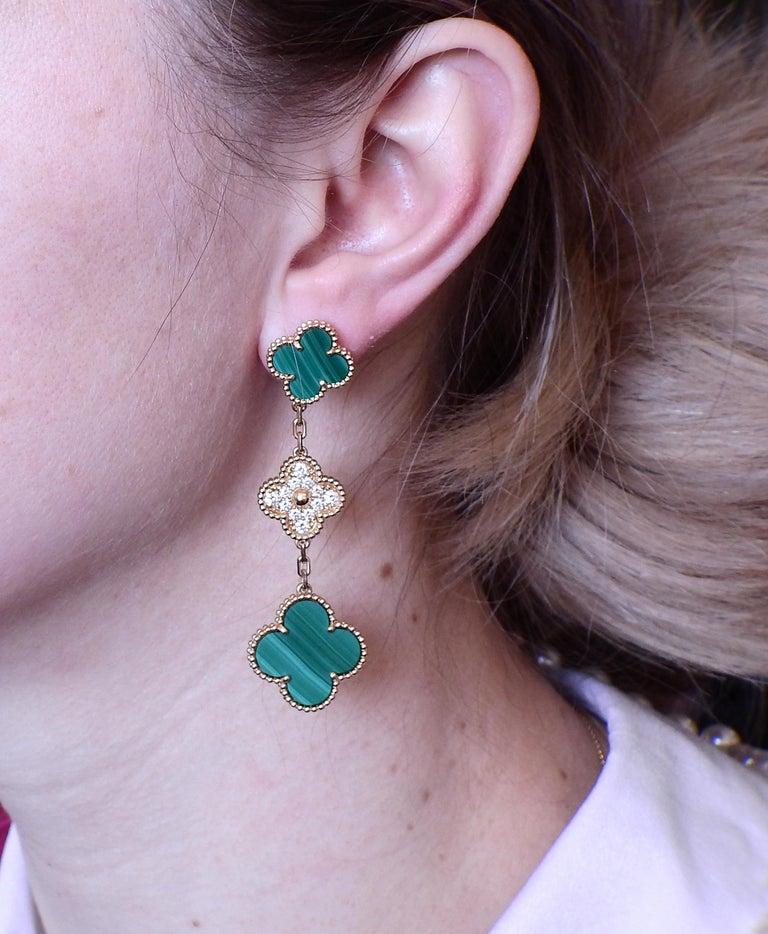 Van Cleef & Arpels Magic Alhambra Diamond Malachite Gold Earrings For Sale 1