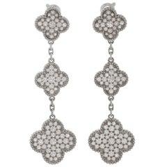 Van Cleef & Arpels Magic Alhambra Diamond White Gold Drop Earrings