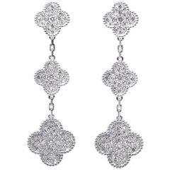 Van Cleef & Arpels Magic Alhambra Earrings, Three Motifs White Gold, Diamond