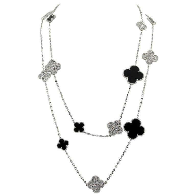 Van Cleef & Arpels Diamond Onyx White Gold Magic Alhambra Fifth Avenue Necklace For Sale