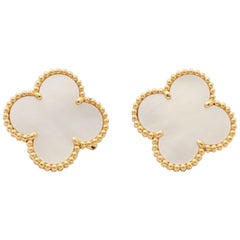 Van Cleef & Arpels 'Magic Alhambra' Gold and Mother of Pearl Earrings