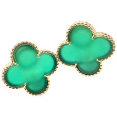Van Cleef & Arpels Magic Alhambra Green Chalcedony Yellow Gold Earrings