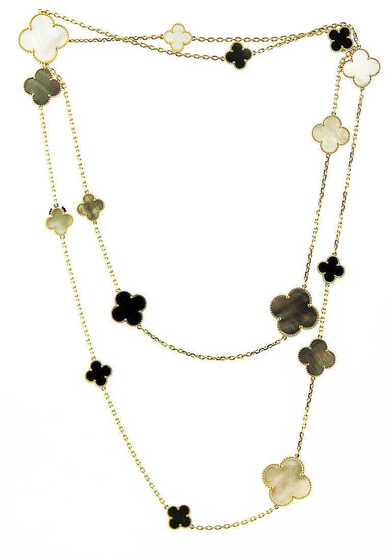 Uncut Van Cleef & Arpels, Magic Alhambra Long Necklace, 16 Motifs, Mother of Pearl For Sale