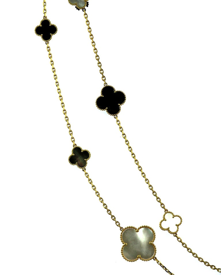 Van Cleef & Arpels, Magic Alhambra Long Necklace, 16 Motifs, Mother of Pearl In Excellent Condition For Sale In London, GB