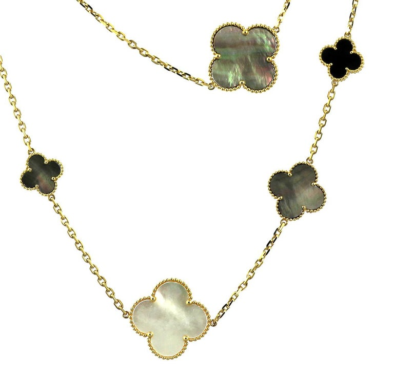 Women's or Men's Van Cleef & Arpels, Magic Alhambra Long Necklace, 16 Motifs, Mother of Pearl For Sale