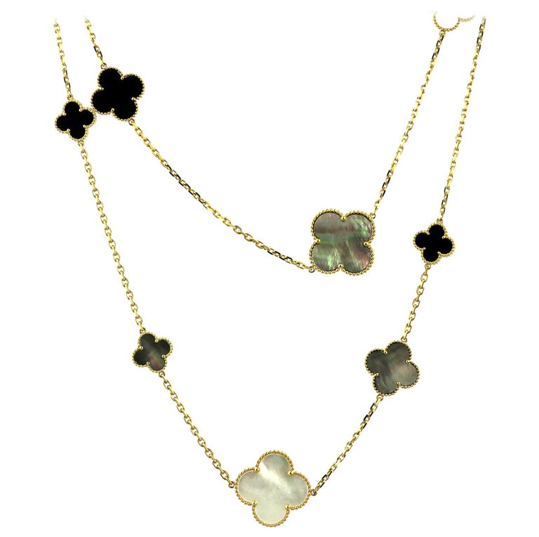 Van Cleef & Arpels, Magic Alhambra Long Necklace, 16 Motifs, Mother of Pearl For Sale