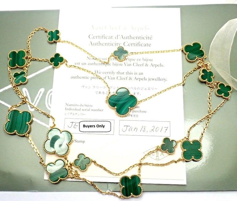 Van Cleef & Arpels Magic Alhambra Malachite 16 Motif Long Yellow Gold Necklace 5