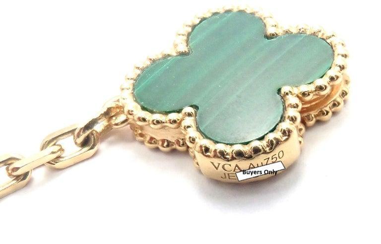 Van Cleef & Arpels Magic Alhambra Malachite 16 Motif Long Yellow Gold Necklace 4
