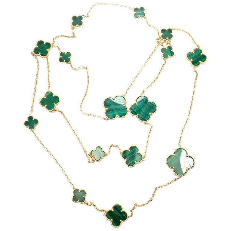 Van Cleef & Arpels Magic Alhambra Malachite 16 Motif Long Yellow Gold Necklace