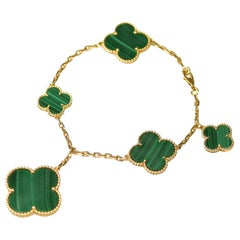 Van Cleef & Arpels Magic Alhambra Malachite 5 Motif Bracelet & Necklace