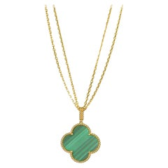 Van Cleef & Arpels Magic Alhambra Malachite Yellow Gold Pendant Long Necklace