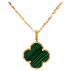 Van Cleef & Arpels Magic Alhambra Malachite Yellow Gold Pendant Long Necklace