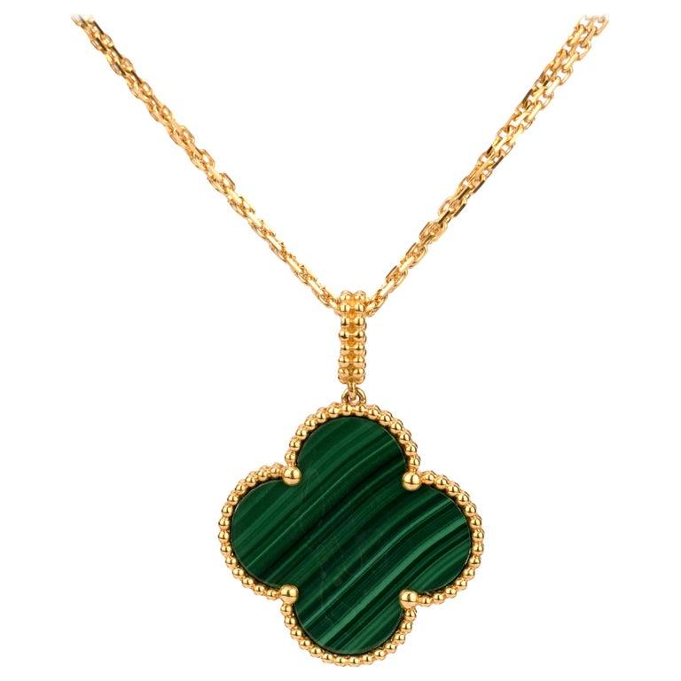 Van Cleef & Arpels Magic Alhambra Malachite Yellow Gold Pendant Long Necklace For Sale