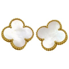 Van Cleef & Arpels Magic Alhambra Mother of Pearl Large Yellow Gold Earrings