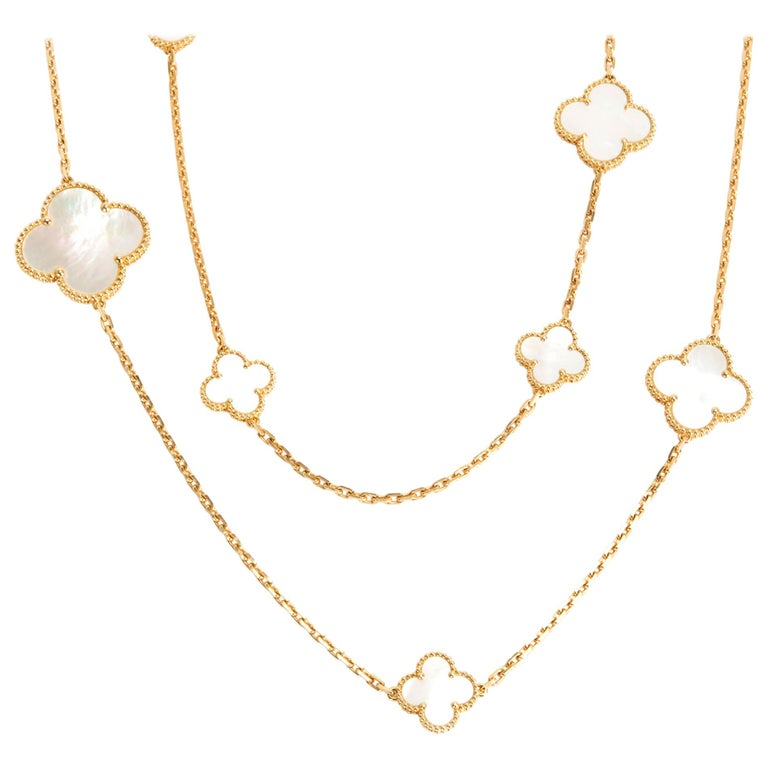 Van Cleef & Arpels Magic Alhambra Mother of Pearl Necklace in 18K Yellow Gold For Sale