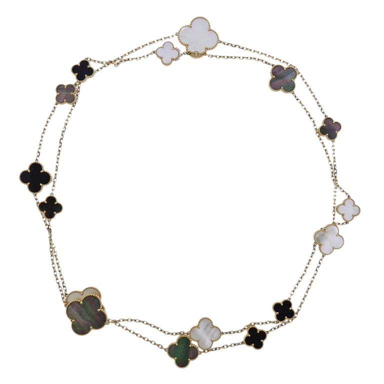 Van Cleef & Arpels Magic Alhambra Mother of Pearl Onyx Gold 16 Motif Necklace For Sale