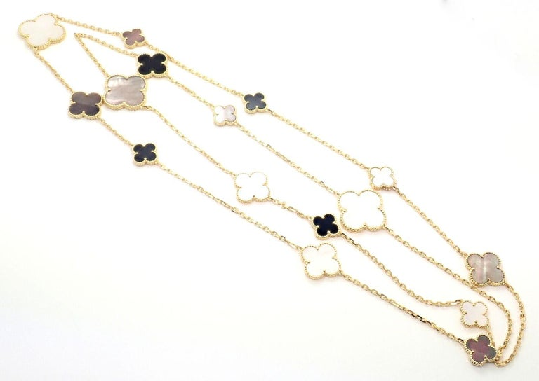 Van Cleef & Arpels Magic Alhambra Mother of Pearl Onyx Long Yellow Gold Necklace For Sale 5