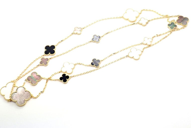 Van Cleef & Arpels Magic Alhambra Mother of Pearl Onyx Long Yellow Gold Necklace For Sale 6