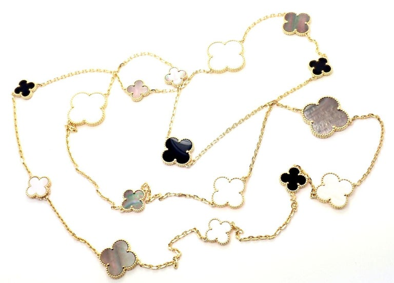 Van Cleef & Arpels Magic Alhambra Mother of Pearl Onyx Long Yellow Gold Necklace For Sale 7