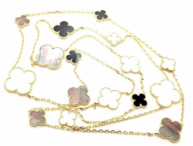 18k Yellow Gold Van Cleef & Arpels  Magic Alhambra White And Gray Mother Of Pearl Onyx Sixteen Motif Necklace, 47.25